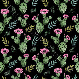 Prickly Cactus Black - Woven Cotton