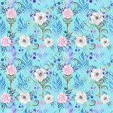Feathers Florals and Keys Blue - PUL | Online Fabric Australia