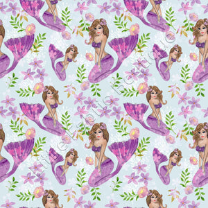 Pretty Purple Mermaids and Florals - Woven Cotton