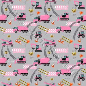 Working Trucks Pink - Woven Cotton