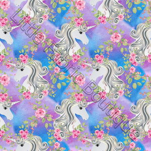 White Unicorn Florals - PUL