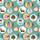 Farm Patches Green - Woven Cotton