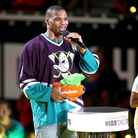 russell westbrook wearing mighty ducks jersey