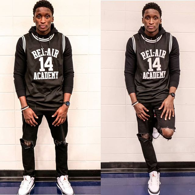 victor oladipo wearing will smith the fresh prince of belair basketball jersey in black