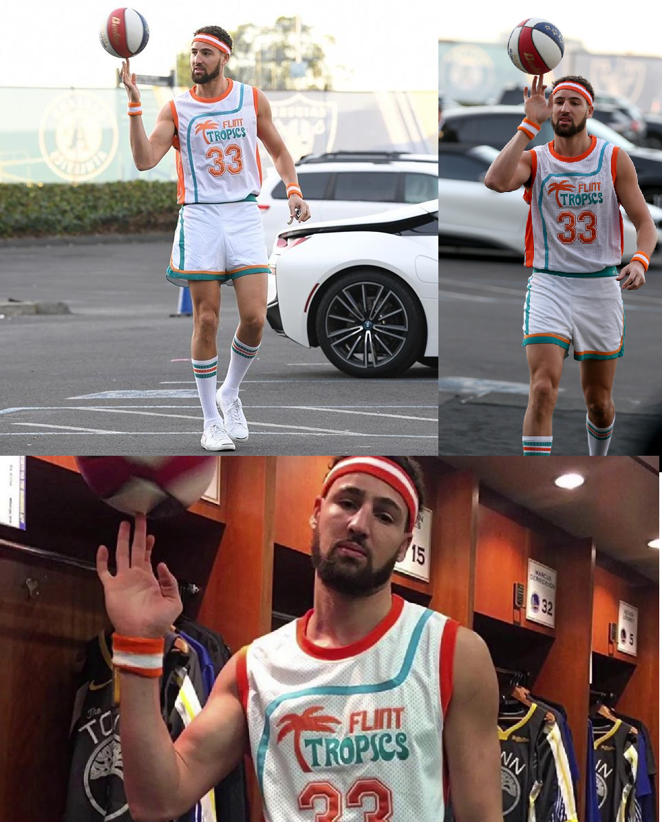 Klay thompson halloween costume 2018 wearing jackie moon flint tropics semi pro will ferrell jersey