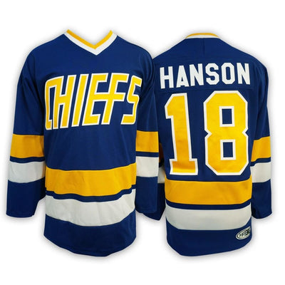 Jeff Hanson #18 Hanson Brothers Charlestown Chiefs Slapshot Movie Jersey, Jersey, HaveJerseys, HaveJerseys, 2018 throwback retro vintage movie sports basketball baseball football hockey college highschool jerseys, jersey plug, movie jerseys