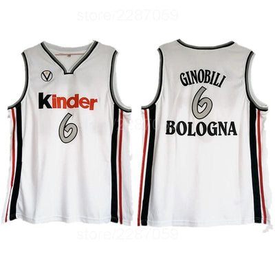 Manu Ginobili #6 Virtus Kinder Bologna European Jersey, Jersey, HaveJerseys, HaveJerseys, 2018 throwback retro vintage movie sports basketball baseball football hockey college highschool jerseys, jersey plug, movie jerseys