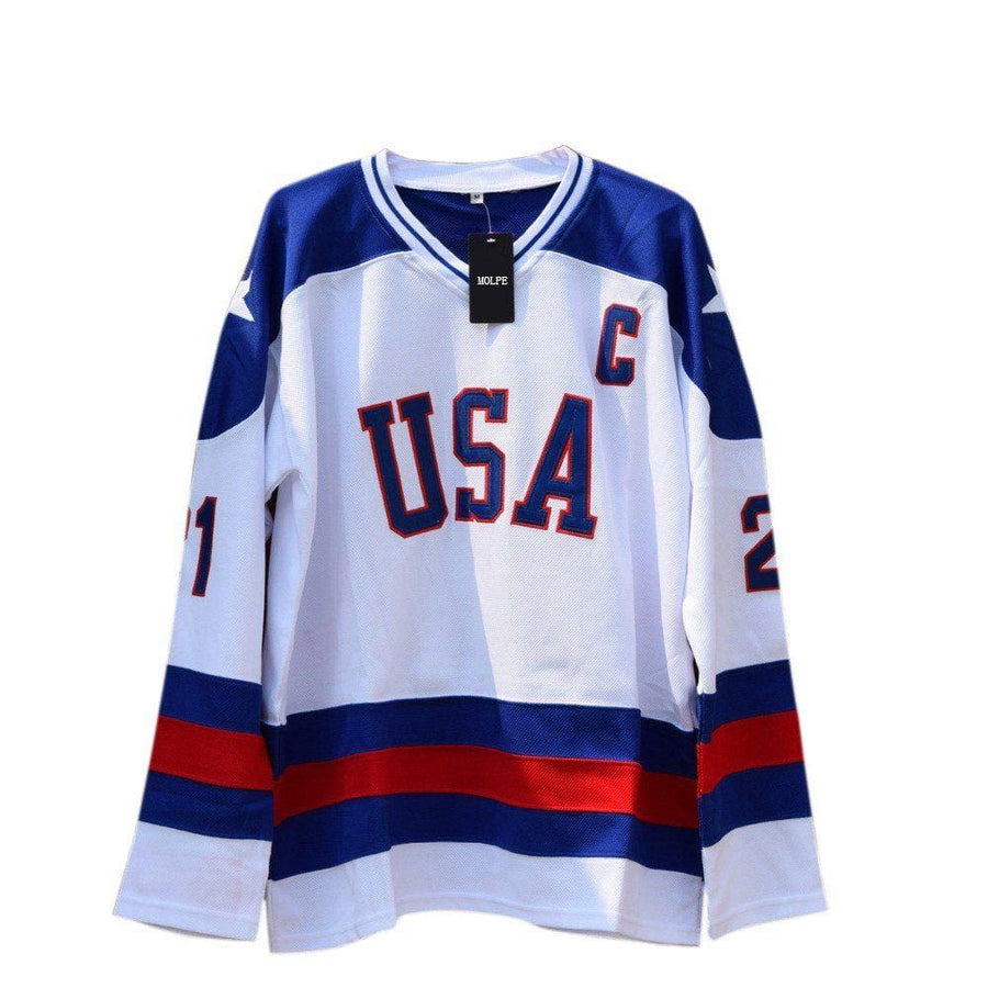 Mike Eruzione #21 1980 Miracle On Ice Team USA Hockey Movie Jersey