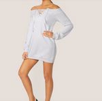Mel-Lace Up Sweatshirt Dress