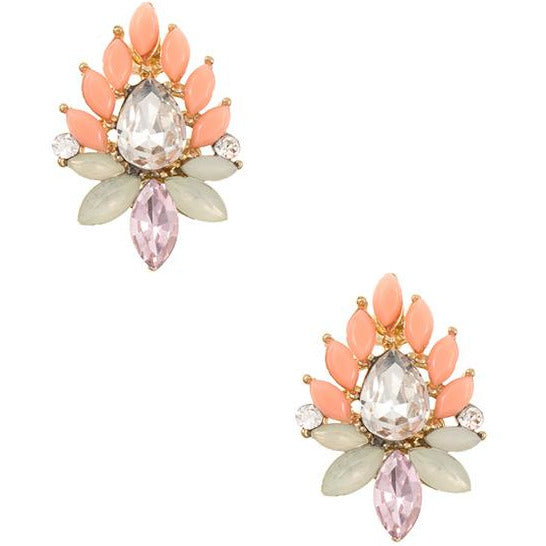 Peach Cluster Earrings