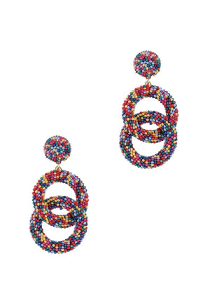 Multi Color Beaded Dangle Earrings