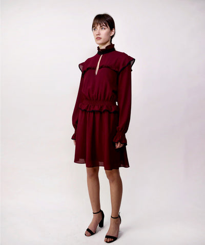 Pinko's burgundy long-sleeve dress with pleated details. Size 6. Fits true to size. Romantic but not too feminine. Available in a great used condition. Resale fashion. Corporate women's dress. The Sloth