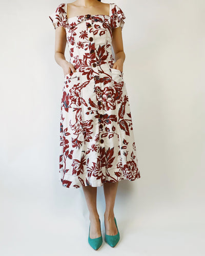 women's floral dress, spring fashion, anthropologie, anthropologie style, secondhand, reformation style, sleeveless dress, off-shoulder dress, maroon floral pattern, red floral pattern, square neck dress
