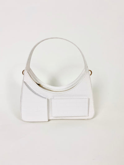 House of Sunny Icon Bag Vegan Leather Crystal Half Moon Bag