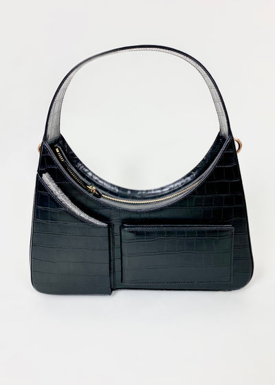 House of Sunny Icon Shoulder Bag with mirrors in vegan leather in luna dark black with croc leather effect back
