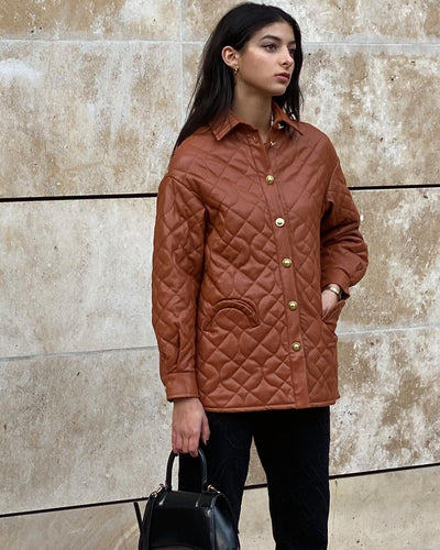 House of Sunny Midcentury Quilt Shirt Jacket in Mahogany Brown – vegan jacket with leather-like effect