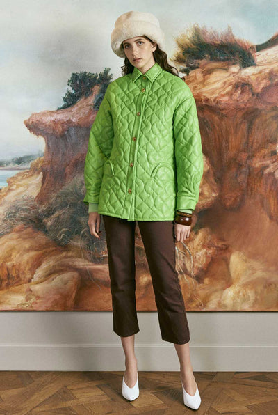 House of Sunny Midcentury quilt vegan jacket in palm green