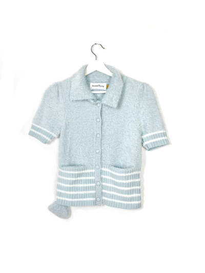 House of Sunny Winona Knit Vegan Fashion Sky blue collar with stripes and wide collar with airpod case