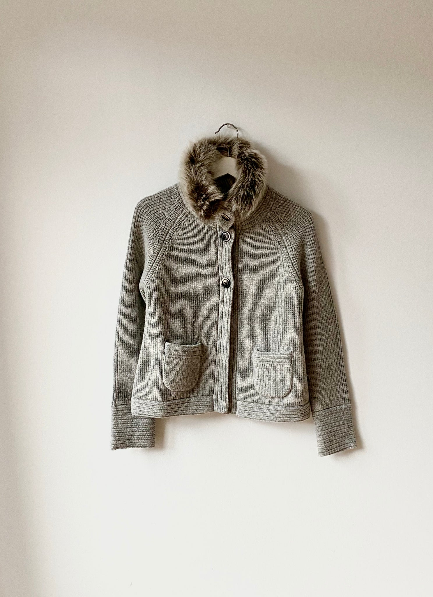 Gray Wool Cardigan with Detachable Collar