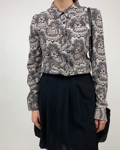 Black & white paisley shirt dress