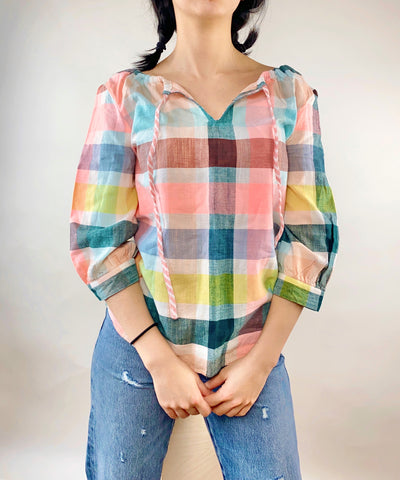Ace & Jig Rosa Top in Crown. Ace and Jig. Colorful top in size xs. Neon pink stripes with yellow and emerald.
