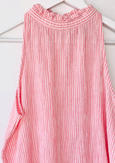 Striped halter neck top in pink