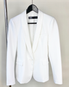 Women's white blazer with silk lapel from Zara. Polished, professional blazer from Zara. Secondhand style. The Sloth