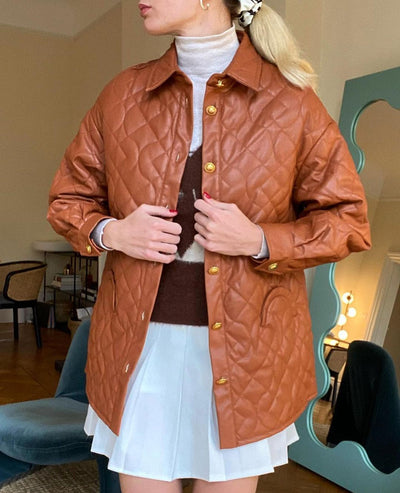 House of Sunny Midcentury Quilt Shirt Jacket in Mahogany Brown and Palm Green– vegan jacket with leather-like effect