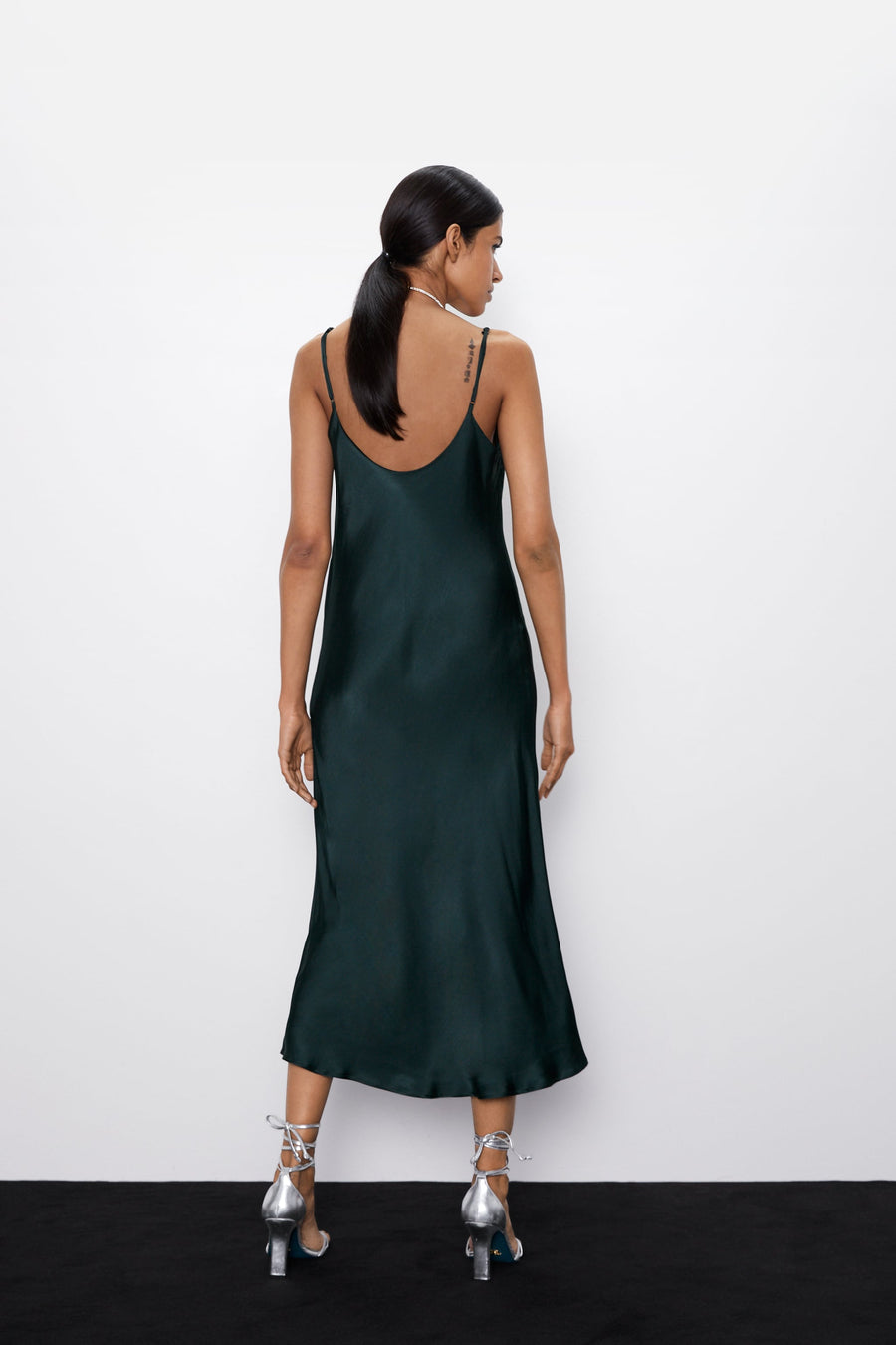 Zara emerald green slip dress in viscose, size XS