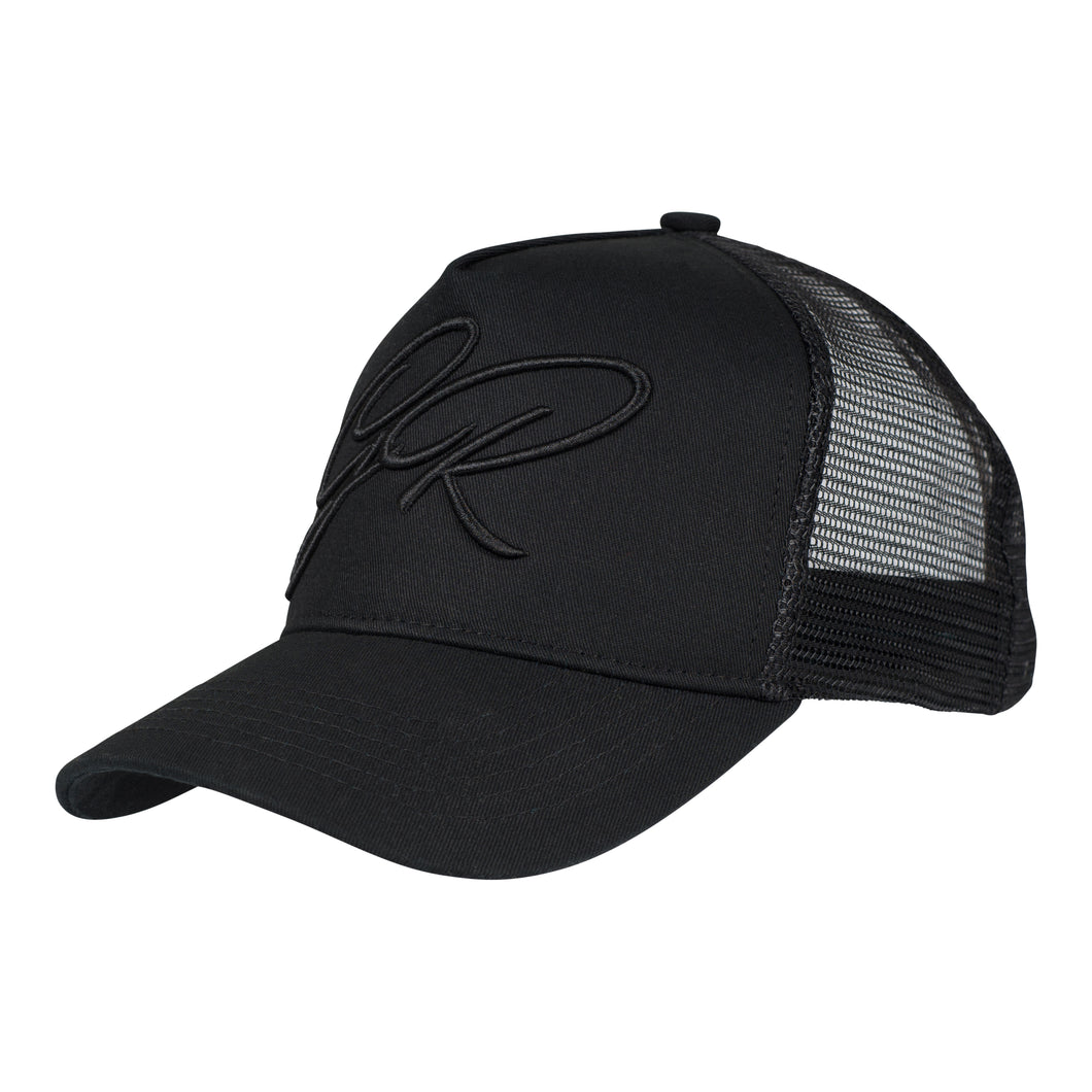 CURSIVE TRUCKER CAP - BLACK - GROWN ROYAL