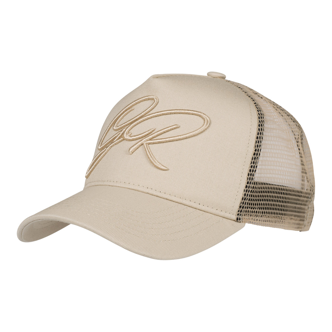 CURSIVE TRUCKER CAP - BEIGE - GROWN ROYAL