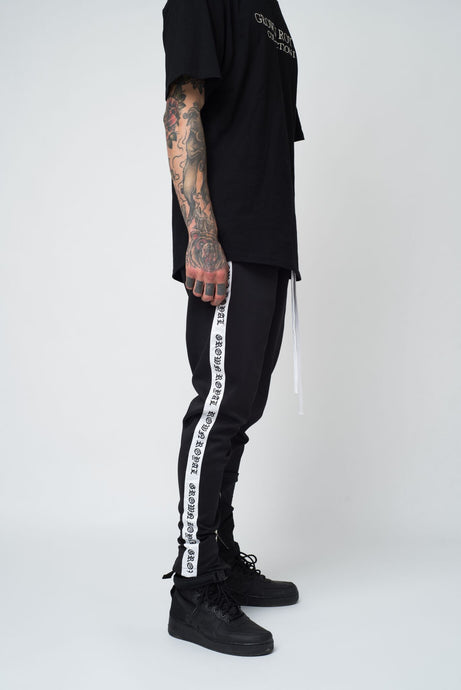 EMBROIDERED TRACK PANTS - BLACK - GROWN ROYAL