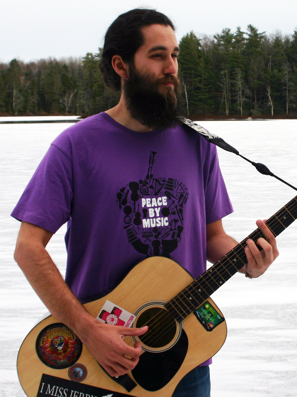 NEW Unisex Peace By Music 100% Organic Cotton Fair Trade Shirt- PURPLE
