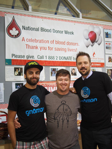 Gnomon founders Glyn Micheal and Cody at Canadian Blood Services
