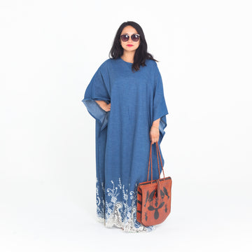 Denim White Embroidered Madre Kaftan