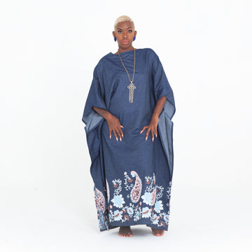 Denim Embroidered Madre Kaftan