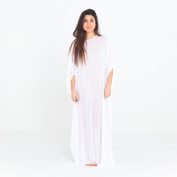 White Sheer Playa Kaftan