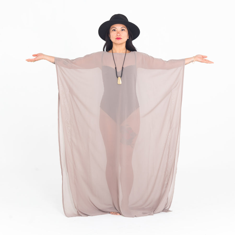Beige Sheer Playa Kaftan