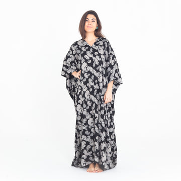 black, paisley, long, maxi-length, kaftan