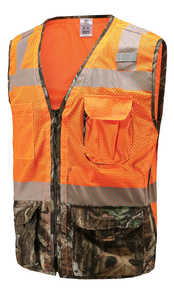 3a257467cd8bd 360 USA ANSI ISEA Class 2 Mossy Oak Camo High Visibility Safety Vest –  360USA