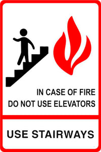 SignOptima™️ ADA Compliant Elevator Sign, IN CASE OF FIRE USE STAIRS