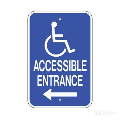 Accessible Entrance Arrow Pointing Aluminum Sign-Parking Sign-SignOptima