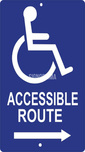 Accessible Route Directional Aluminum Sign-Parking Sign-SignOptima