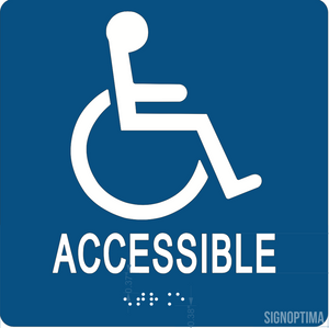 "ADA Compliant Accessible Entrance Braille Sign 6""x6""-ADA Sign-SignOptima"