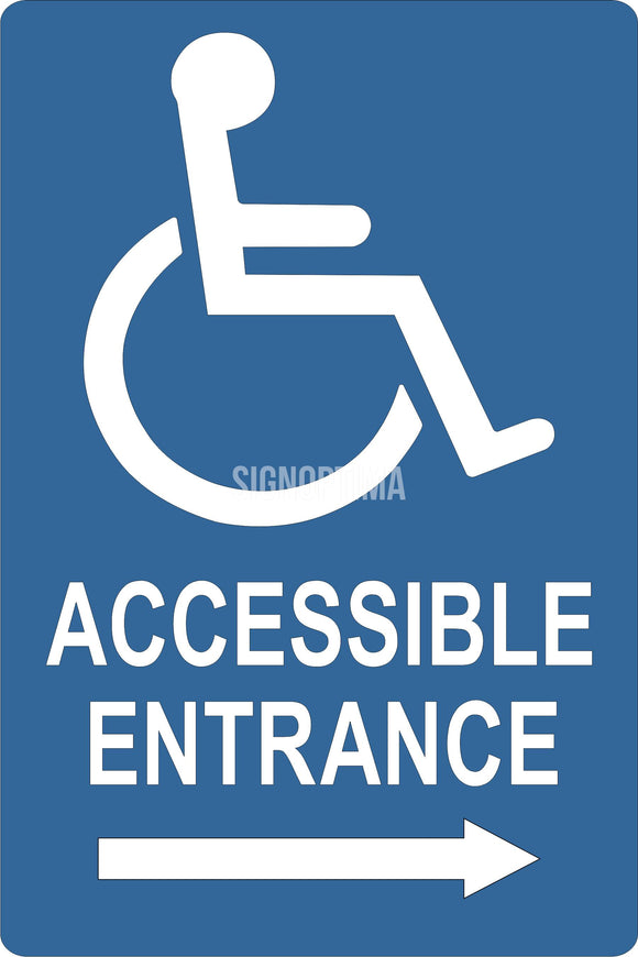 ADA Compliant Accessible Entrance Sign with Arrow ,Acrylic 6