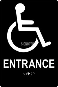 "ADA Compliant Accessible ENTRANCE Sign,Acrylic Braille 6""x9""-ADA Sign-SignOptima"