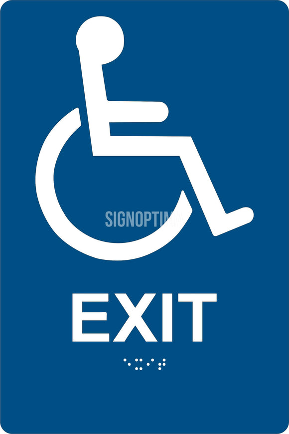ADA Compliant Accessible EXIT Sign,Acrylic Braille 6