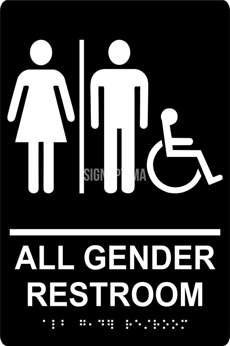 Ada Compliant All Gender Accessible Restroom Braille Sign