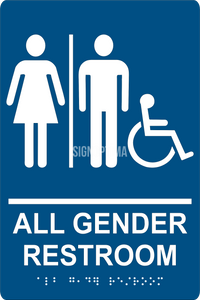 ADA Compliant All Gender Accessible Restroom Sign with Braille-Restroom Sign-SignOptima