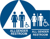 ADA Compliant All Gender Restroom Braille Sign Set , Wall+Door Sign (Acrylic)-Restroom Sign-SignOptima